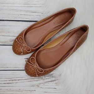 TALBOTS BROWN LEATHER CROC EMBOSSED BALLET FLATS